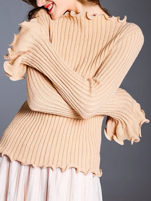 Apricot Wool Bateau/boat neck Solid Sweaters-Sweaters-Chicloth