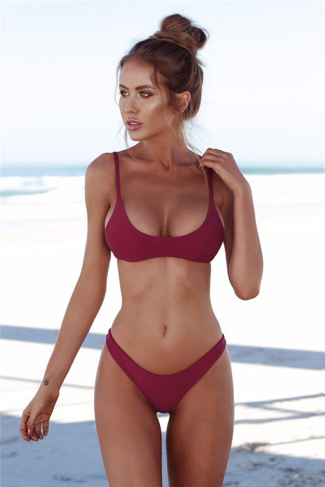 B| Chicloth Sexy Triangle Solid Colour Bikini Set-Bikinis-Chicloth