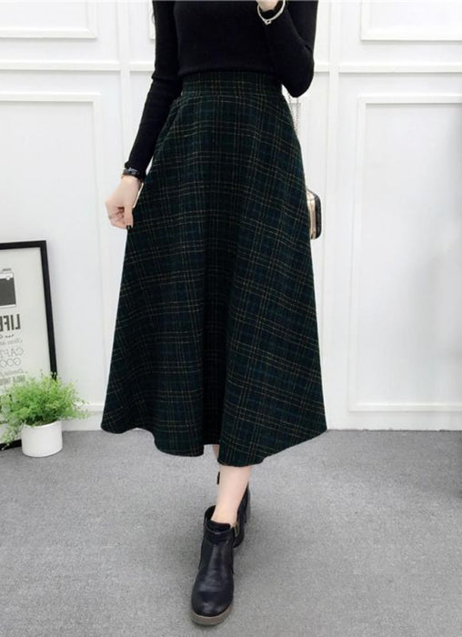 b366c24e019408 Chicloth Women Plaid Skirt Woolen High Elastic Waist Elegant A-Line Midi  Skirts-Skirts