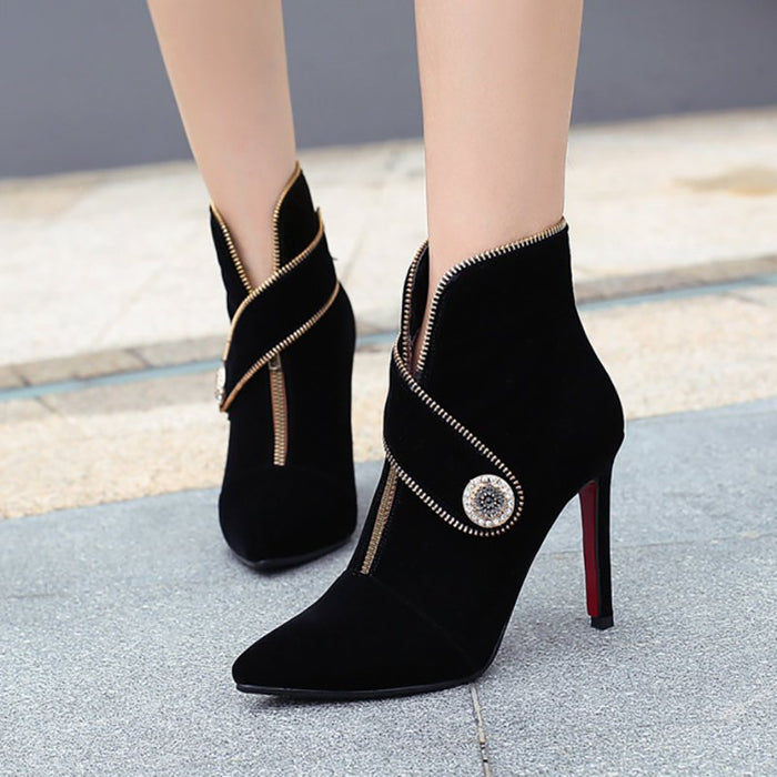 Zipper Daily Stiletto Heel Suede Pointed Toe Elegant Boots-Boots-Chicloth