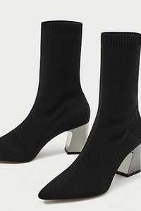 Black Chunky Heel Daily Pointed Toe Boots-Boots-Chicloth