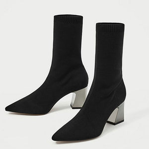 Black Chunky Heel Daily Pointed Toe Boots