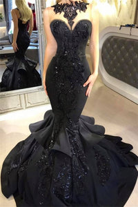 A| Chicloth Black Mermaid Beads Prom Dresses | Appliques 2019 Sexy Evening Dresses Cheap FB0267-Prom Dresses-Chicloth