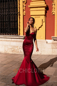 AA| Chicloth Mermaid Train Strapless Burgundy Long Prom Dresses