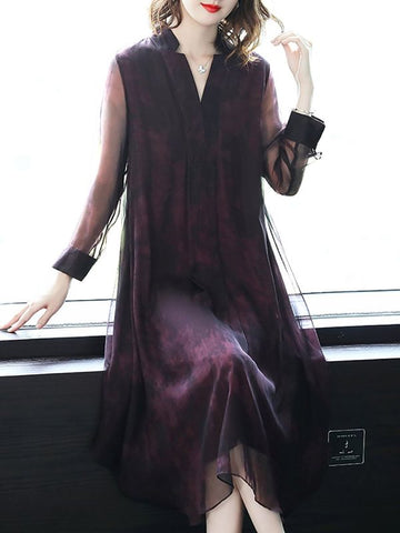 Purple Elegant Paneled Shift V neck Long Sleeve See-through Look Midi Dresses