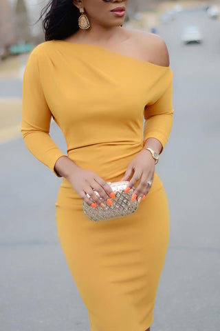 A| Chicloth Solid Skew Neck Bodycon Midi Dress