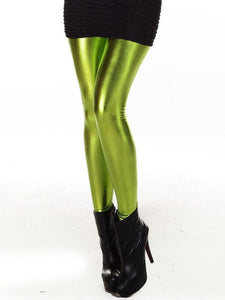 Women Slim Fashion Shiny Metal Fruit Green Leggings