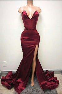 B| Chicloth Burgundy Mermaid Prom Dresses Sweetheart Evening Gowns - Chicloth