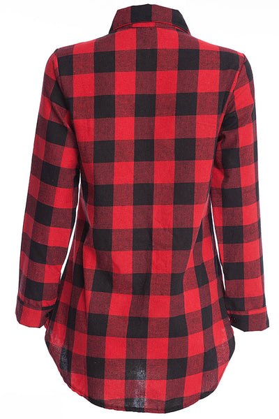 Chicloth New Wild Plaid Long Shirt Long Sleeve Casual Ladies Shirt 07
