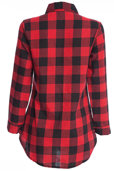 Chicloth New Wild Plaid Long Shirt Long Sleeve Casual Ladies Shirt 06