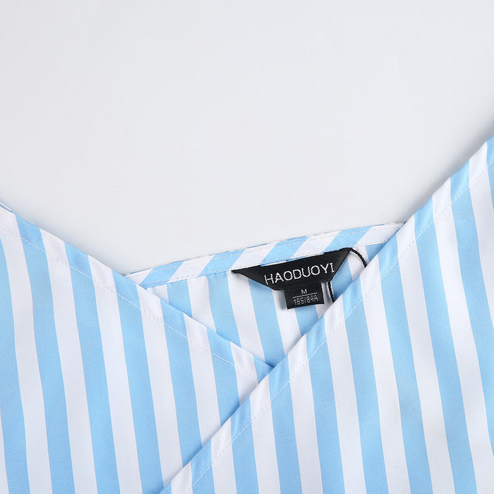 Chicloth Light Blue Striped Slip Dress-Chicloth