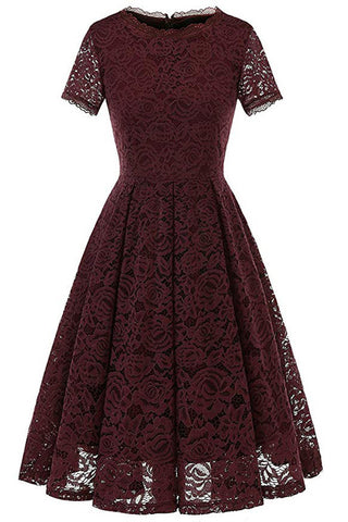 AA| Chicloth Women's Bridesmaid Vintage Dress Floral Lace Formal Swing Dress