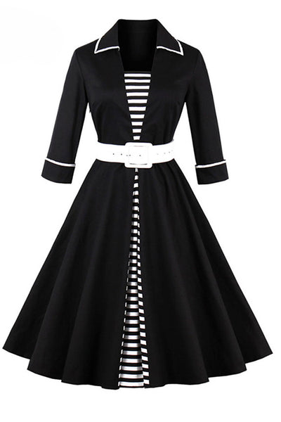 2018 Autumn Black Striped Women Long Sleeve Vintage Dresses - Chicloth