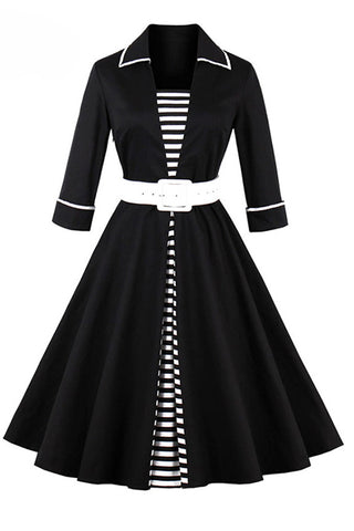 Chicloth Black Striped Women Long Sleeve Vintage Dresses-Chicloth