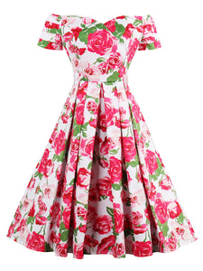 Chicloth Red Rose Garden Vintage Dress-Chicloth