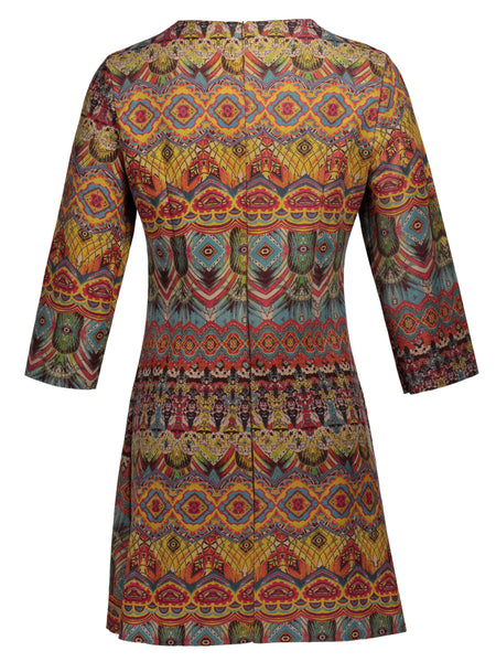 Chicloth Bohemia Round Neck Long Sleeve Bandage Mini Dress - Chicloth
