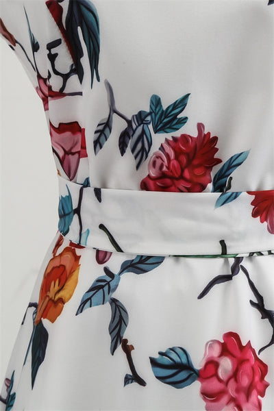 B| Chicloth White Vintage Dress Red Rose Printed Party Dress Waist Belt Women Dress-Chicloth