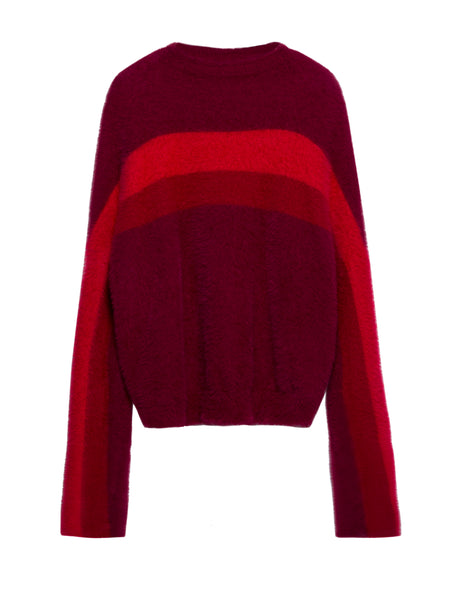 Chicloth Burgundy Round Neck Long Sleeve T-Shirt - Chicloth