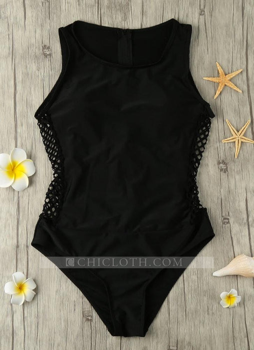 C| Chicloth Hollow Out Zipper Back One Piece Swimsuit-chinlon,polyester,onepieceswimsuit-Chicloth