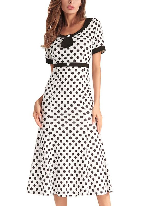 B| Chicloth 1950s Vintage Women Polka Dot Dress Bodycon Elegant Mermaid Long Dress-polyester,print,tealength,scoop,misses,shortsleeves,maxidresses-Chicloth