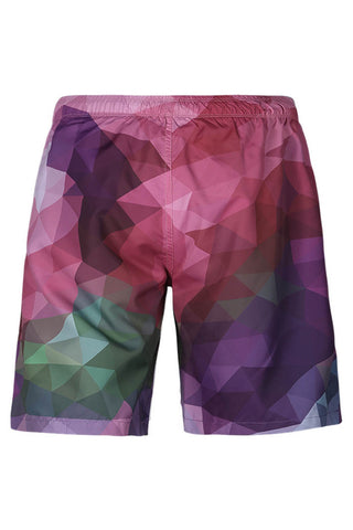 A| Chicloth Geometric Pattern Color Block Men's Beach Board Swim Trunks
