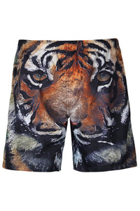 A| Chicloth Knee Length Tiger Printed Men's Beach Board Shorts Swim Trunks