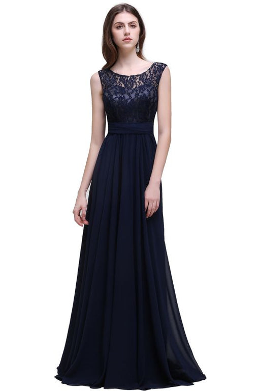 Chicloth Elegant A-line Chiffon Lace Scoop Sleeveless Floor-Length Bridesmaid Dress-Bridesmaid Dresses-Chicloth