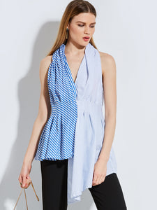 Chicloth Blue Thin Stripe Hanging Neck Sleeveless Blouse