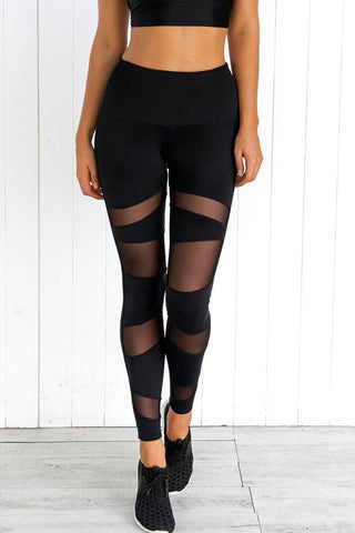 A| Chicloth Black Mesh Active Leggings