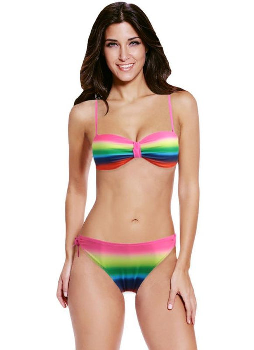 B| Chicloth Sexy Gradient Rainbow Print Underwire 3/4 Cup Women's Bikini-polyester,chinlon,bikinis-Chicloth
