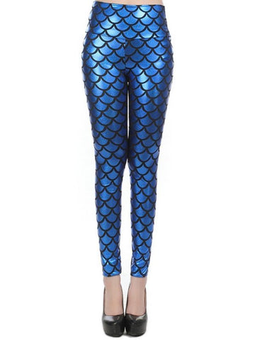 Chicloth New Street Style Slim Sexy High-Waisted Navy Blue Mermaid Fish Scale Imitation Leggings-Leggings-Chicloth