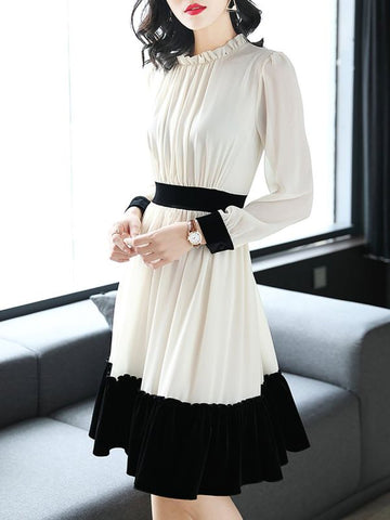 Plus Size Ruffled White Midi Dress Blouson Dress Long Sleeve Paneled Dress