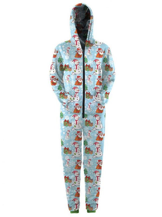 Christmas Onesies.Chicloth Women S Blue Snowflake Santa Claus Printed Zip Hooded Christmas Onesies Christmas Fashions