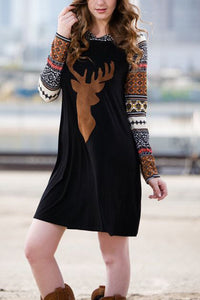A| Chicloth Christmas Elk Raglan Sleeve Hooded Dress Christmas Dresses