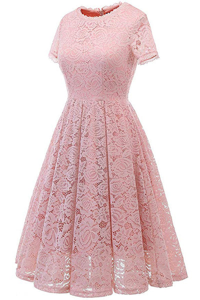 AA| Chicloth Women's Bridesmaid Vintage Dress Floral Lace Formal Swing Dress-lace dresses-Chicloth