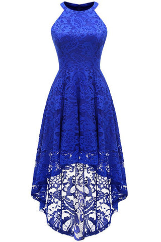 A| Chicloth 2018 Lace Dress Female Robe Casual 1950s Rockabilly High Low Sleeveless Swing Summer Dresses
