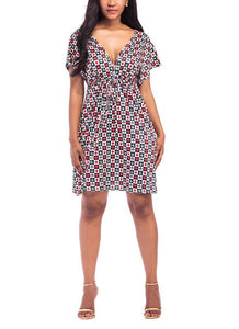 B| Chicloth Plus Size Floral Plaids Dress Deep V Neck V Back Short Sleeves Elastic High Waist Dress-polyester,kneelength,vneck,plussizedresses-Chicloth