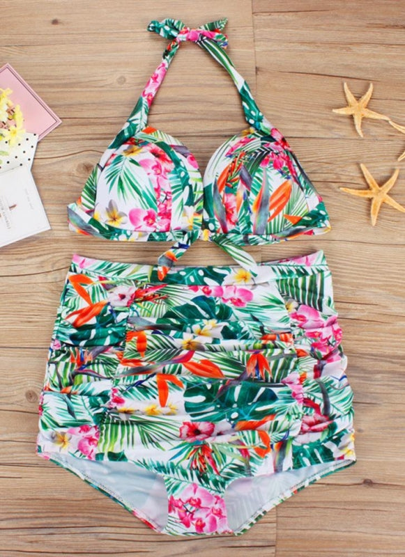 B| Chicloth Floral Print Ruched Spaghetti Strap Two-Piece Swimwear-polyester,nylon,plussizeswimsuit-Chicloth