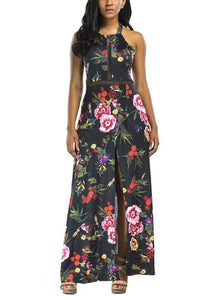 B| Chicloth Women High Split Dress Floral Print Party Club Long Dress