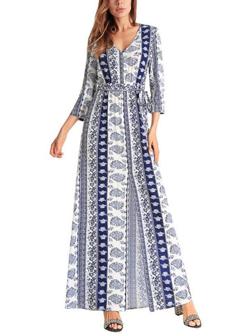 B| Chicloth Chiffon Print front Split V Neck High Waist 3/4 Sleeve Maxi Dress