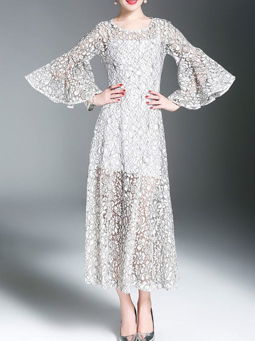 A-line Daily Bell Sleeve Elegant Guipure lace Lace Dresses-Lace Dresses-Chicloth