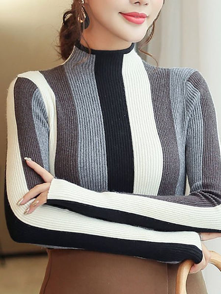 Casual Long Sleeve Stand Collar Color-block Sweaters-Sweaters-Chicloth