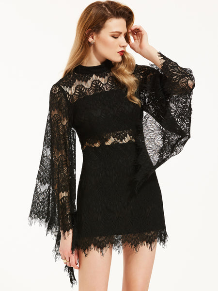 Chicloth Black Round Neck Hollow Lace Wide Sleeve Mini Dress