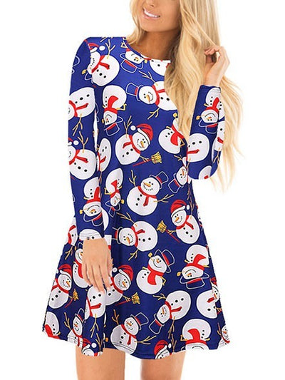 Casual Cartoon Snowman Printed Long Sleeves Cotton Polyester Midi Swing Christmas Dresses-Christmas Fashions-Chicloth