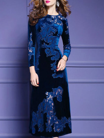 Midi Dress A-line Daily Dress Long Sleeve Elegant Paneled Dress