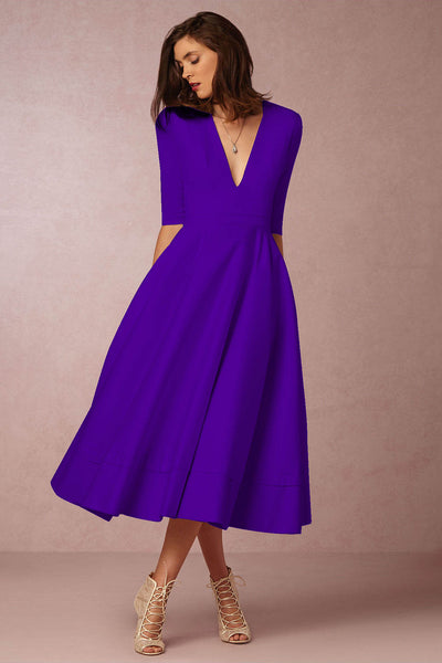 A| Chicloth A-LINE V NECK HALF SLEEVE MIDI PARTY DRESS - Chicloth