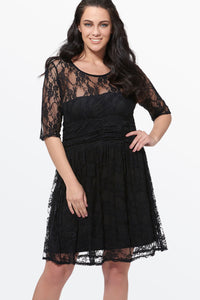Chicloth Black Hollow Lace High Waist Plus Size Dress - Chicloth