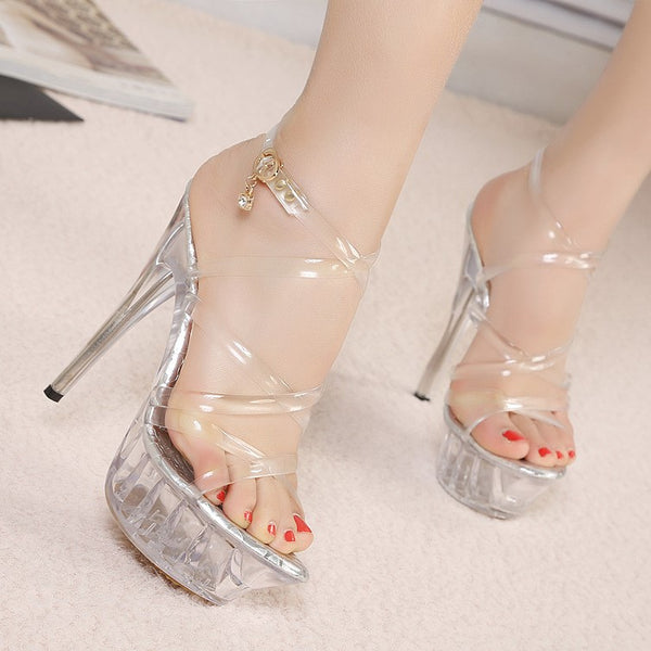 B| Chicloth Buckle Ankle Strap Crystal Peep Toe Heel Shoes-Chicloth
