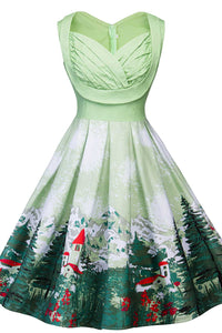 A| Chicloth Vintage Forest Print Ruched Christmas Pin Up Dress Christmas Dresses-Christmas Dresses-Chicloth