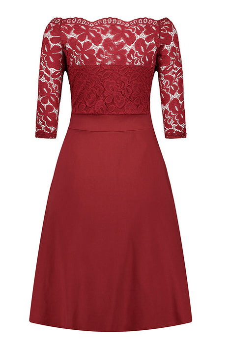 A| Chicloth Women's Vintage Floral Lace Boat Neck Cocktail Formal Swing Dress-Chicloth